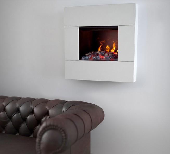 10 idee per decorare la parete dietro il divano for Caminetto elettrico da parete