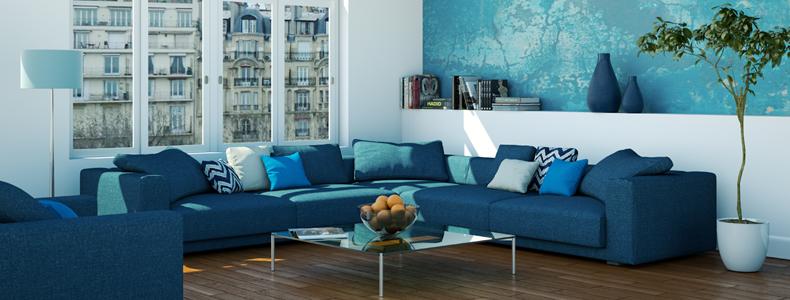 Divano blu armonia freschezza e vitalit in salotto for Colori salotti